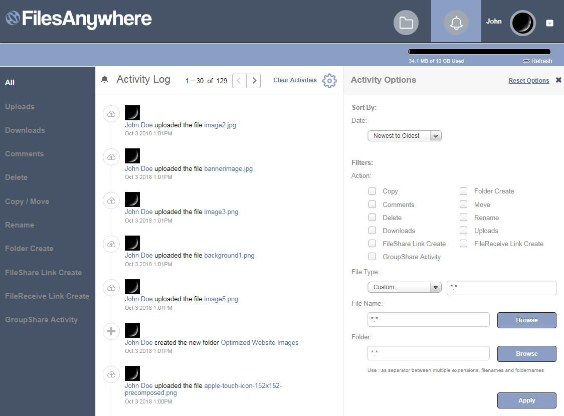 FilesAnywhere Lite Activity Log
