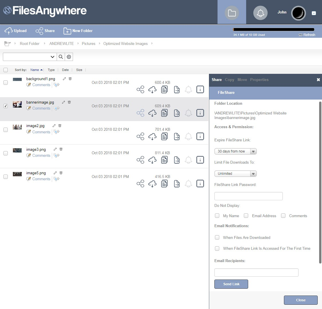 FilesAnywhere Lite FileShare Link
