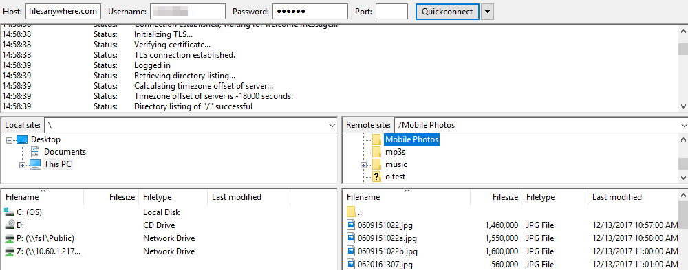 FTPS/SFTP Client like FileZilla